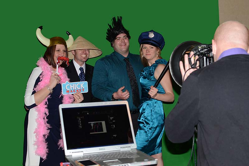 Green screen photo booth before